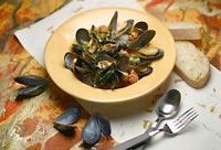 Mussels and Sausage, a Don Curtiss Signature Dish